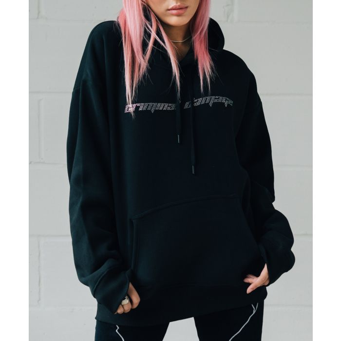 Image for Black pure cotton logo hoodie