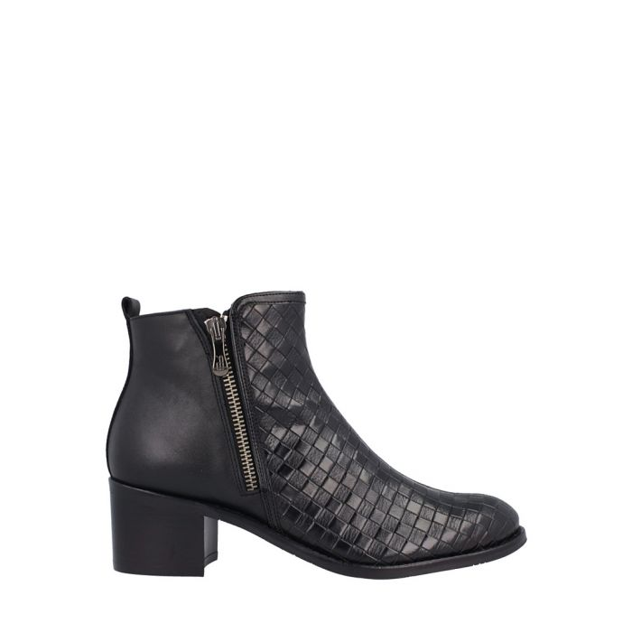 Image for Black leather weave-effect ankle boots