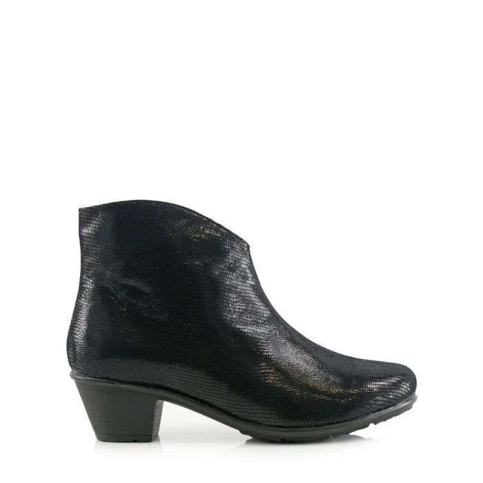Image for Black leather heeled boots