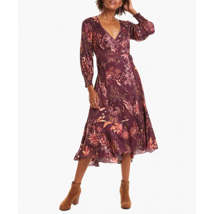 Image for Spirit Wrap burgundy floral wrap dress