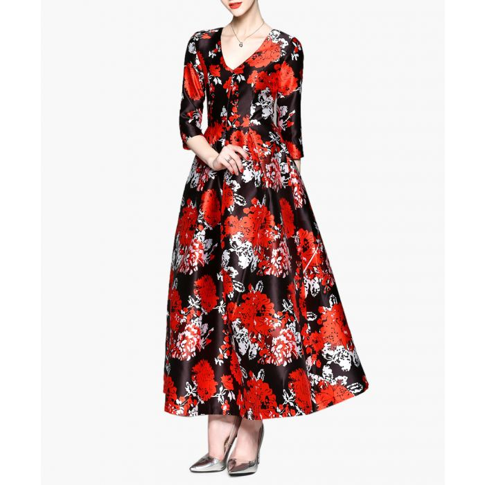 Image for black & red floral V-neck maxi dress