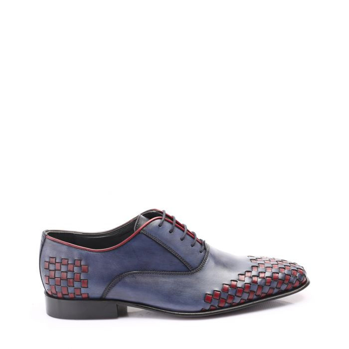 Image for Dark blue & red leather woven Oxford Shoe