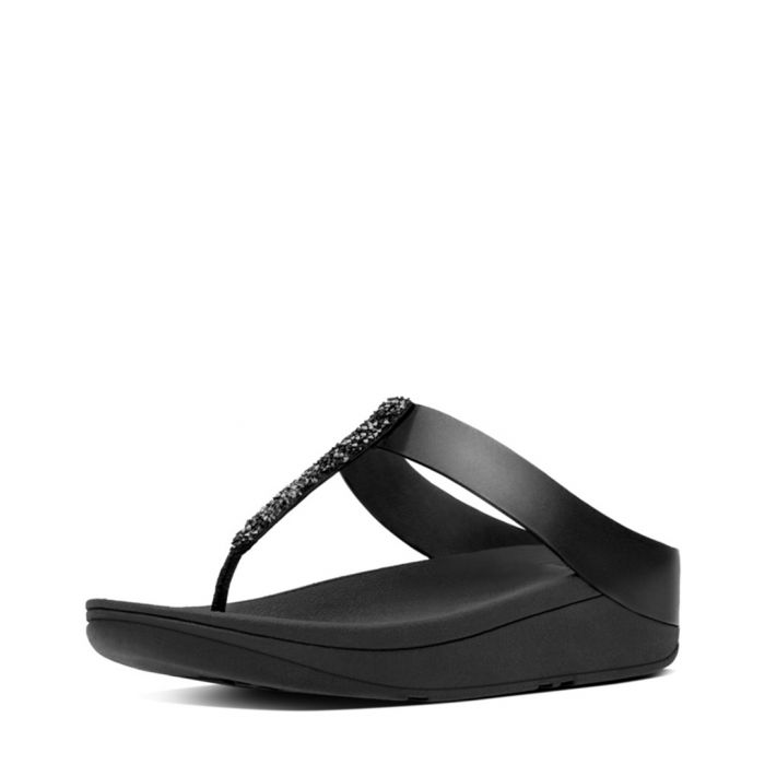 Image for Fino black leather thong sandals
