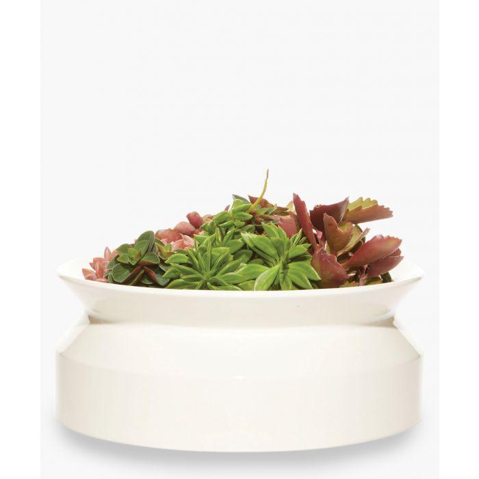 Image for White ceramic wide spool planter 23.83cm x 9.4cm