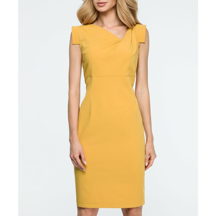 Image for Ochre asymmetric collar dress