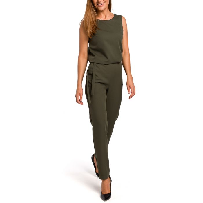 Image for Khaki sleeveless jumpsuit