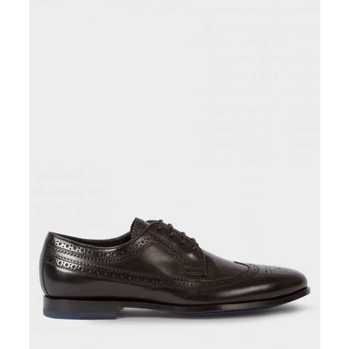 Image for Black leather perforated formal shoes