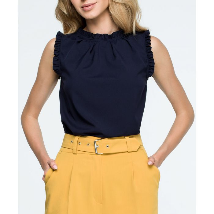 Image for Navy sleeveless scalloped blouse