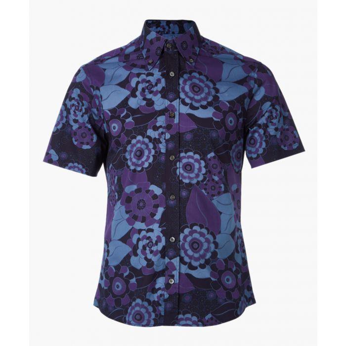 Image for Navy cotton blend patterned shirt