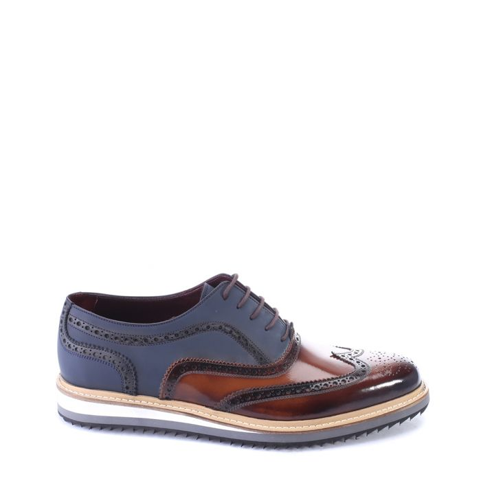 Image for Blue & tan leather wedge derby shoes