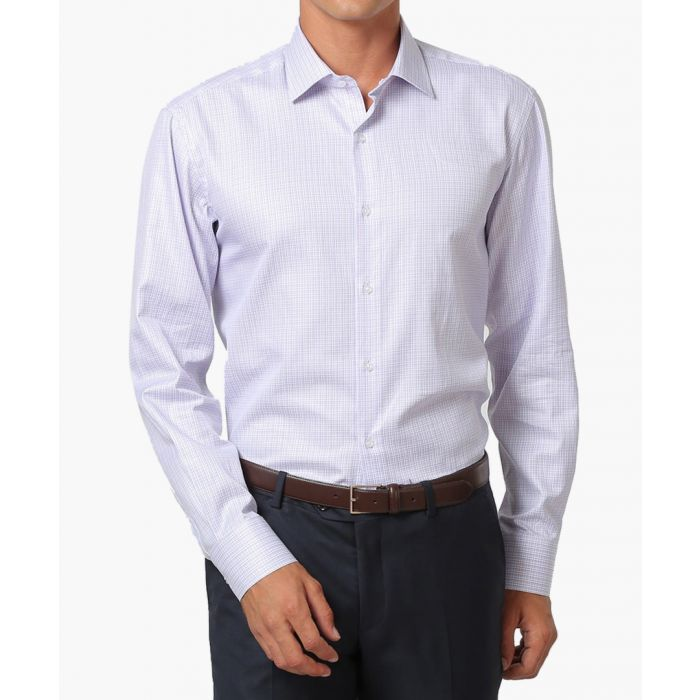 Image for White & lilac pure cotton check shirt