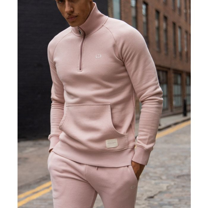 Image for Pink cotton blend semi-zip sweater