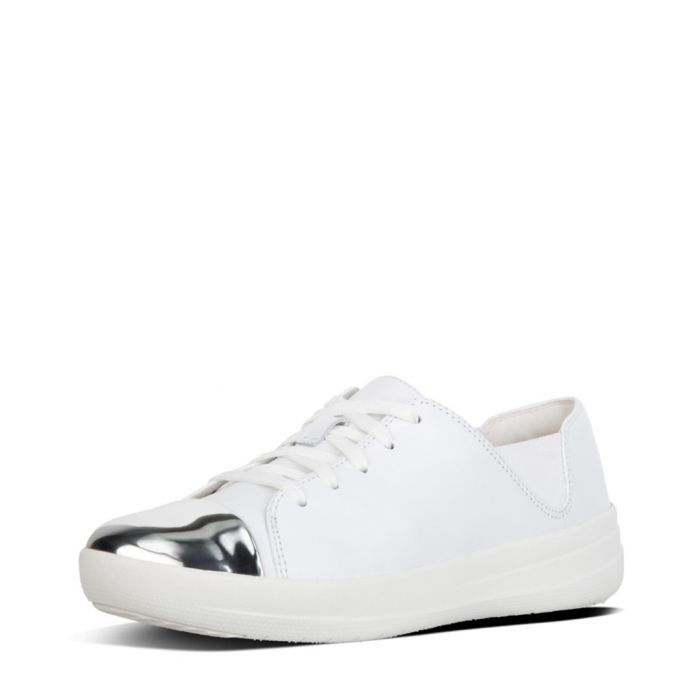 Image for F-sporty white leather mirror trainers