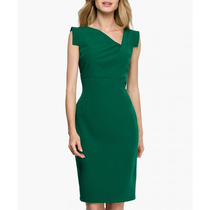 Image for Green blue asymmetric neckline dress