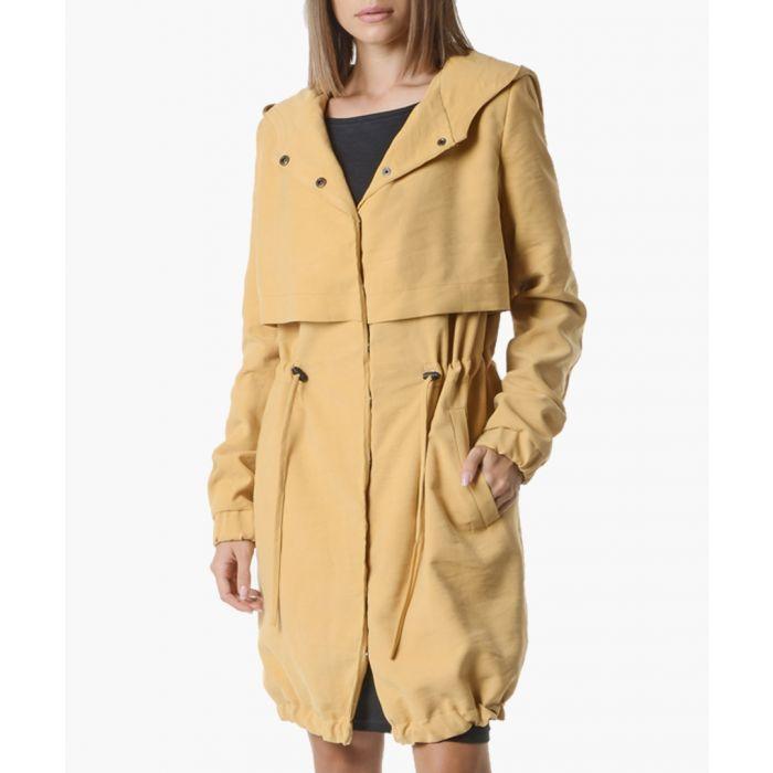 Image for Camel drawstring waist hooded coat