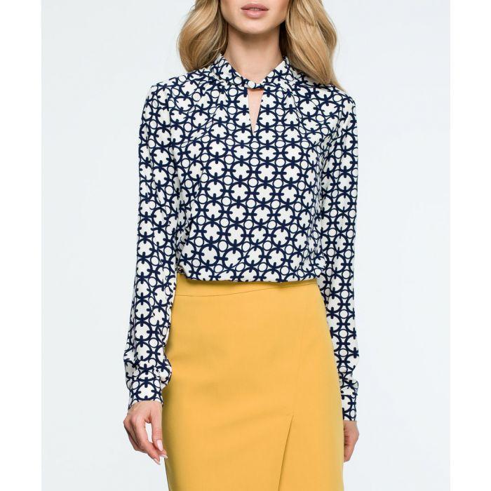 Image for Monochrome tile long sleeve blouse