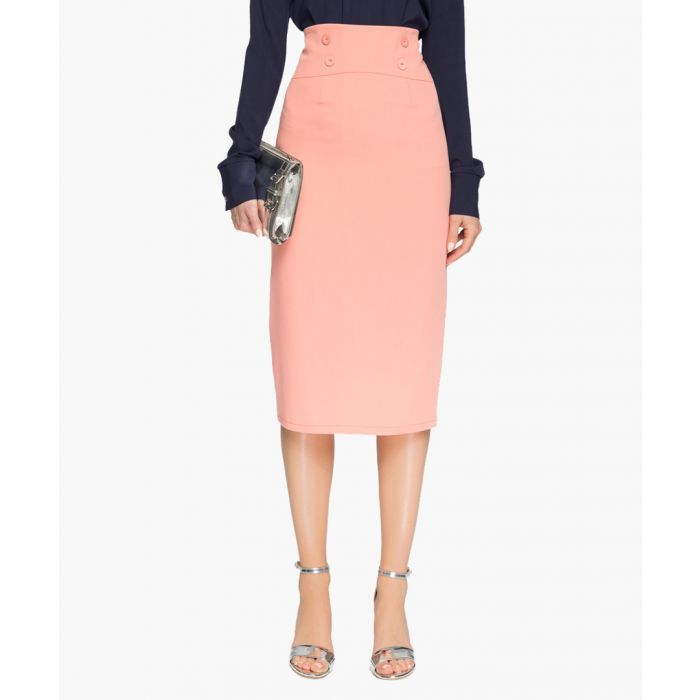 Image for Salmon pink high-waisted pencil skirt