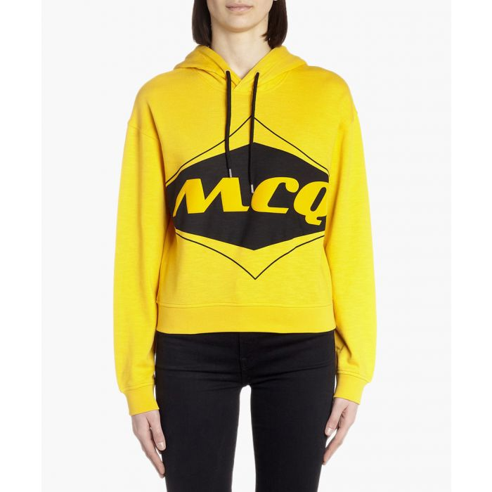 Image for Yellow cotton logo print hoodie