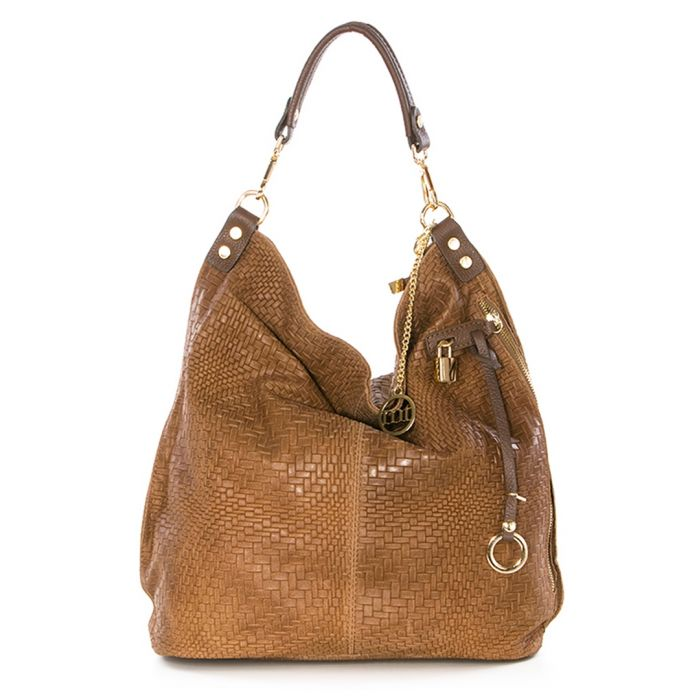 Image for Nut leather woven shoulder bag