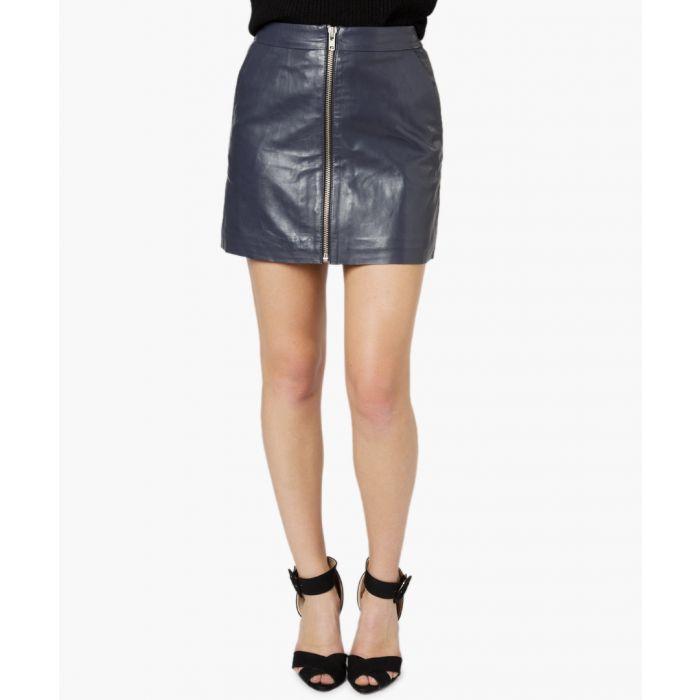Image for Impala blue leather a-line mini skirt