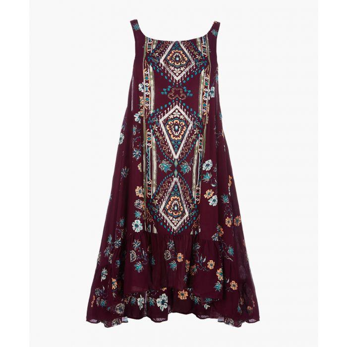 Image for Annka boarder purple printed slip dress