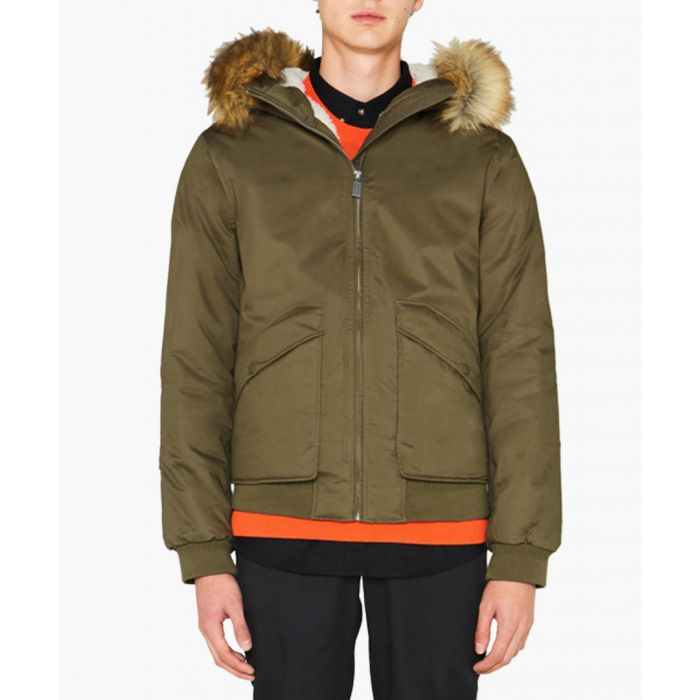Image for Men's khaki pure cotton insulated parka