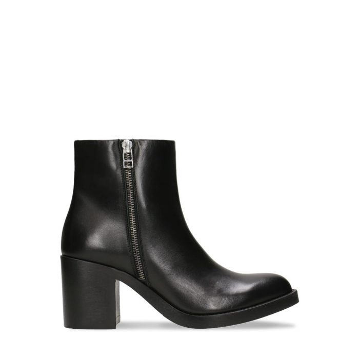 Image for Black leather block heel ankle boots