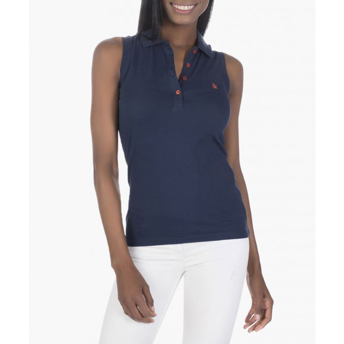 Image for Navy cotton blend sleeveless polo shirt