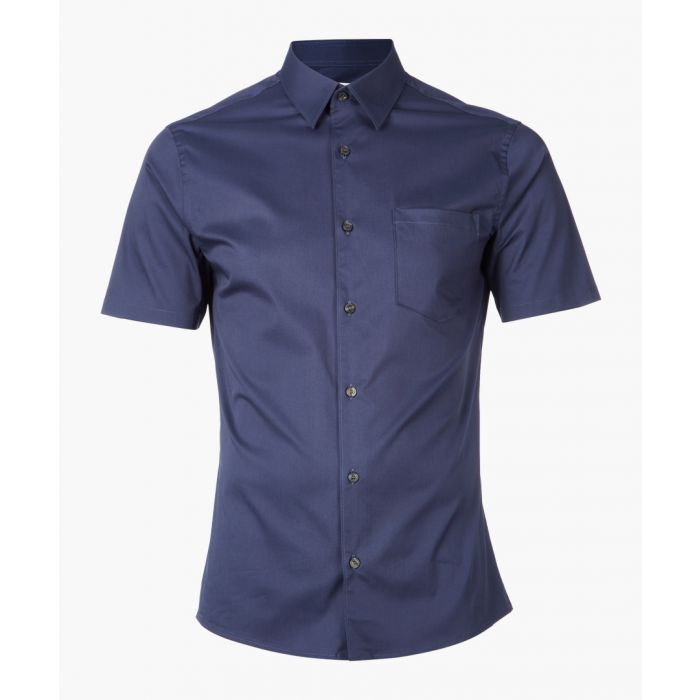 Image for Blue cotton blend short sleeve shirt
