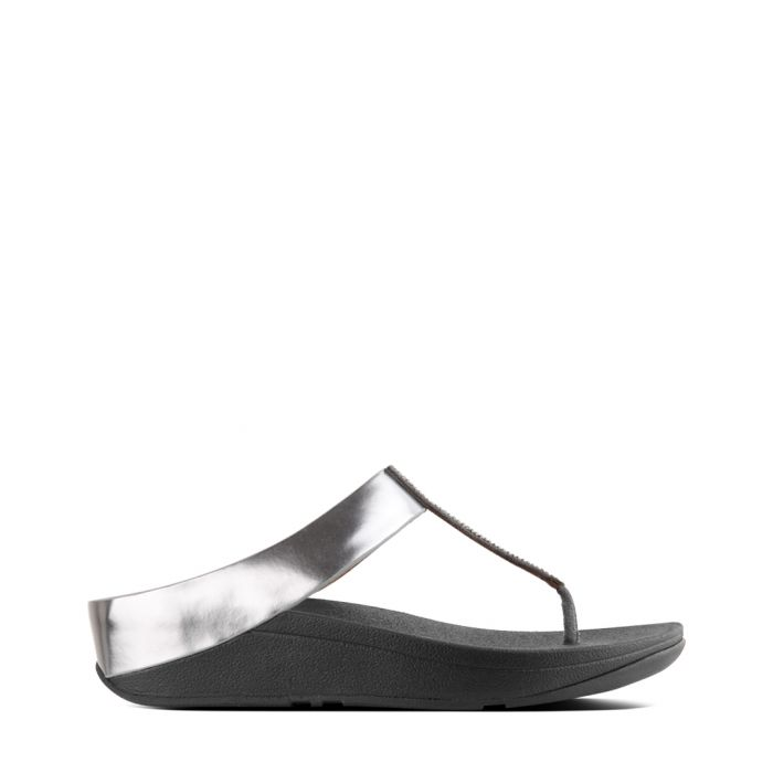 Image for Fino Crystal pewter faux-leather toe-post sandals
