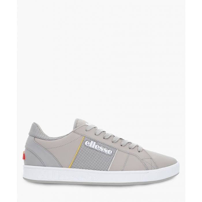 Image for Grey leather low-top trainers