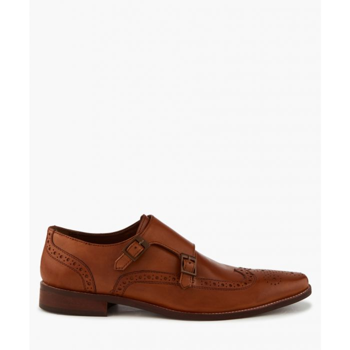 Image for Patch tan double monkstrap shoes