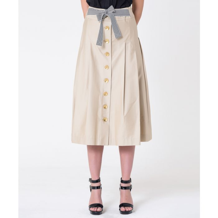 Image for Beige cotton button midi skirt