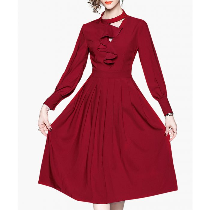 Image for Wine long sleeve ruffle dress