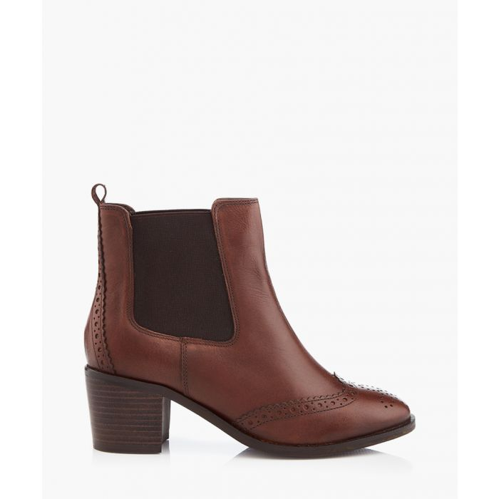 Image for Tan brogue heel ankle boots