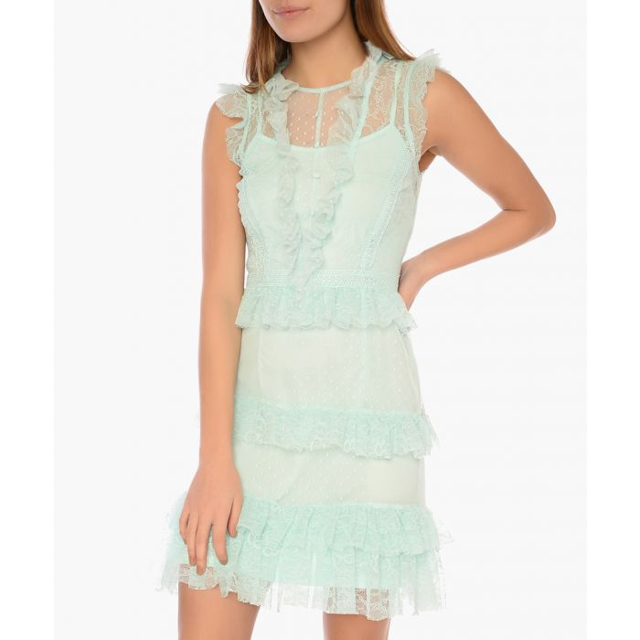 Image for Icy mint cotton blend tier ruffle dress