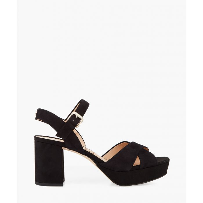 Image for Jolene black suede strappy chunky heels