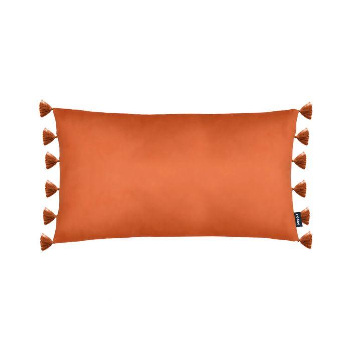 Image for Majestic orange velvet tassel cushion