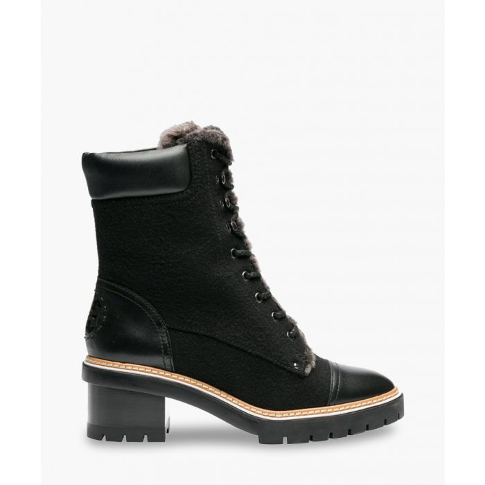 Image for Black wool & leather ankle boots