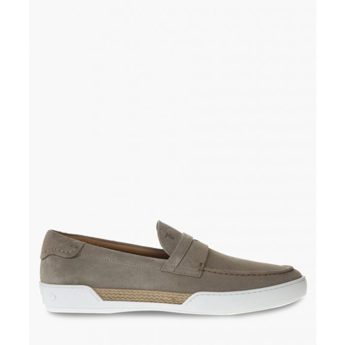 Image for Taupe suede flat loafers
