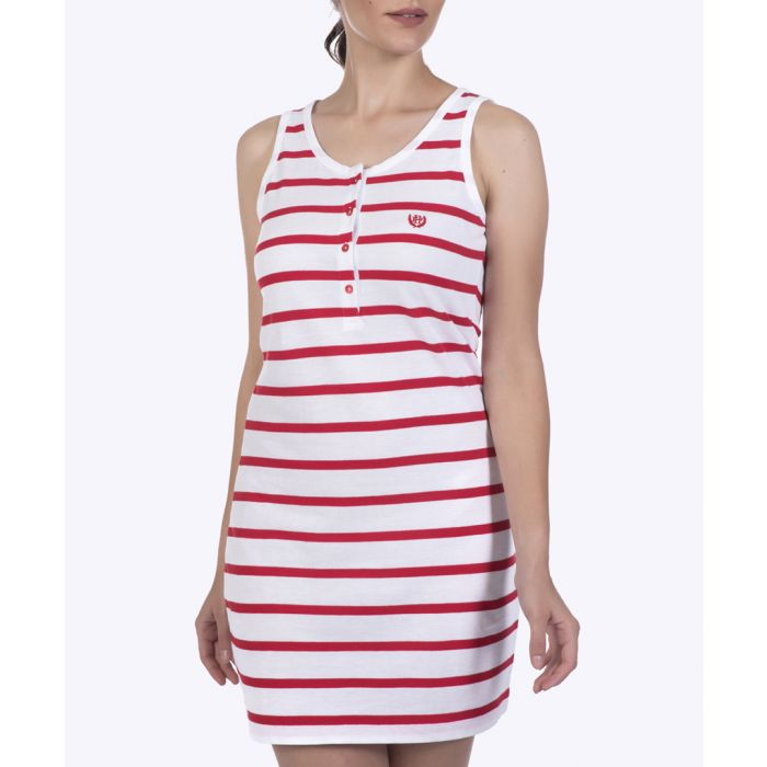 Image for Red & white pure cotton stripe dress
