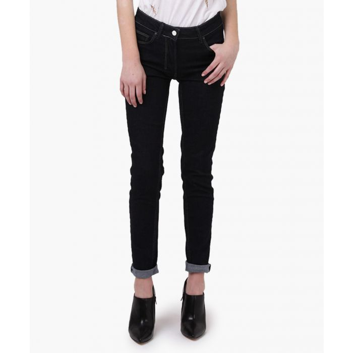 Image for Dark blue cotton blend low-rise jeans