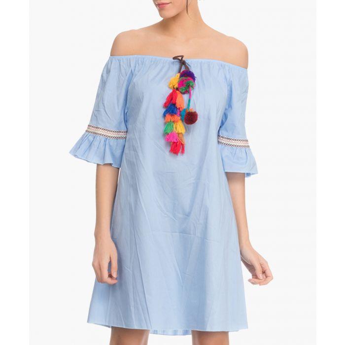 Image for Blue cotton off-the-shoulder dress