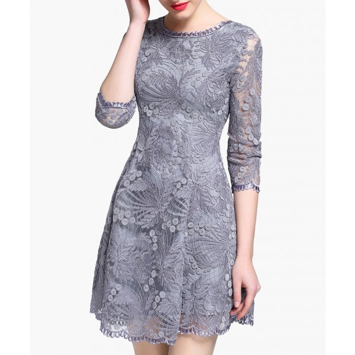 Image for Grey lace overlay 3/4 sleeve dress