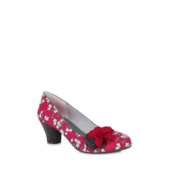 Image for Samira red & charcoal low heels