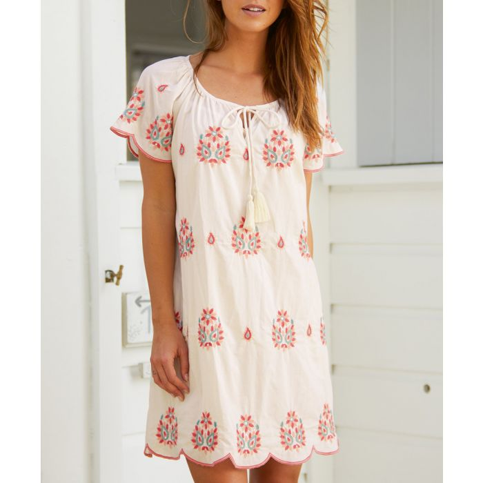 Image for Jade ecru & coral embroidered dress