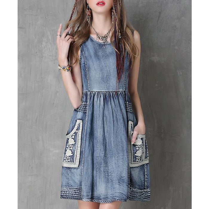 Image for Blue cotton blend denim pinafore dress