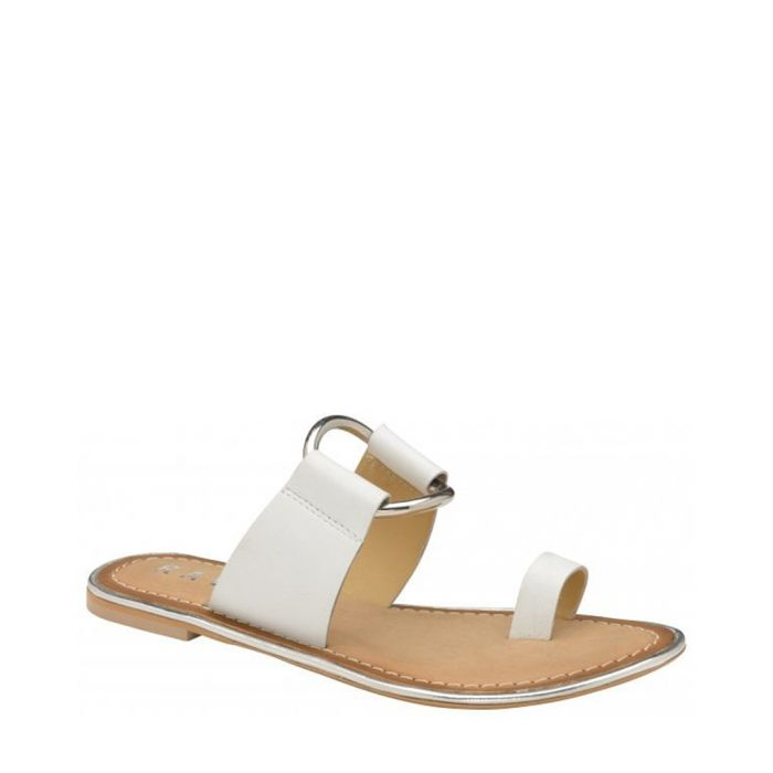 Image for Franklin white leather flat sandals