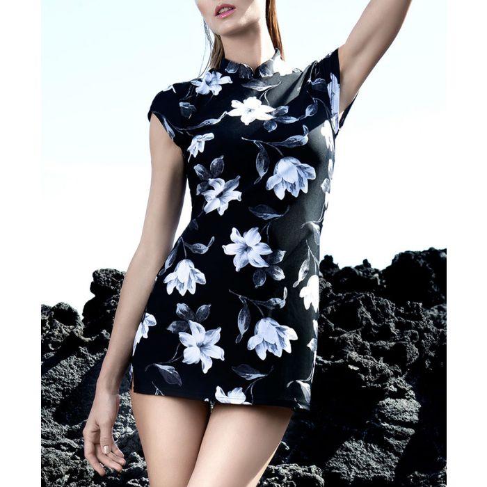Image for Black floral longline swimsuit