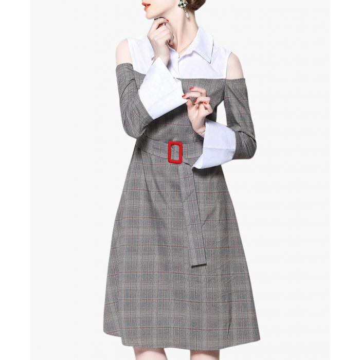 Image for Grey check cold-shoulder shirt dress